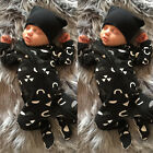USA Newborn Baby Boy Letter Romper Jumpsuit Pajamas Long Sleeve Clothes Outfits