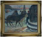 Gauguin Christmas Night The Blessing of the Oxen Framed Canvas Print Repro 20x24