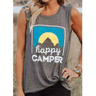 "Fashion Womens Summer Casual Sport Tank Top ""Happy Camper"" Sleeveless Shirt Vest"