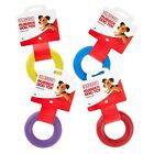 Small Solid Tough Hard Rubber Dog Treat Ring Fetch Toys Blue Purple Red Yellow