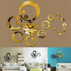US DIY Large Wall Clock 3D Mirror Surface Sticker Stylish Modern Home Decor Cool