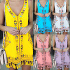 Women's Sleeveless Summer Boho Printed Casual Loose Mini Shirt Beach Mini Dress
