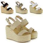 Womens Platform Wedge High Heel Peep Toe Ladies Espadrille Summer Ankle Strap