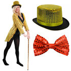 GOLD SEQUIN TAILCOAT TOP HAT AND RED BOW TIE HALLOWEEN FANCY DRESS DANCE COSTUME