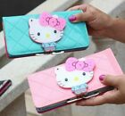 Female Bow Fashion Hello Kitty Designer Leather long Wallet Zippered Purse image