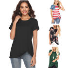 Fashion Women'S Comfy Casual Short Sleeve Side Twist Knotted Tops Blouse Tunic