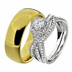 His & Hers White Stainless Steel Clear Round CZ Wedding Ring Set Tungsten Men OF