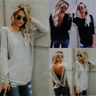 Women Top Blouses Long Sleeve Twisted Open Back Loose Tops Casual Shirt Blouse