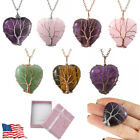 Womens Natural Stone Crystal Tree Of Life Wire Wrap Heart Pendant Necklace Gift image
