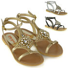 Womens Flat Ankle Strap Sandals Ladies High Shine Rhinesones Summer Shoes