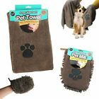 Pet Mitt Wash Towel Super Absorbent and Quick Dry Microfibre Pet Towel Dog New