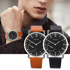 1x Men Casual Artificial Leather Band Analog Wrist Watch Business Quartz Watches
