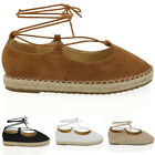 Womens Flat Espadrilles Shoes Ladies Lace Up Pumps