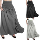 Women Solid Color High Waist Long Skirt Leisure Flared Pleated Maxi Long Dress