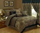 Chezmoi Collection Lisbon 7-Piece Jacquard Floral Comforter Set or Curtain Set
