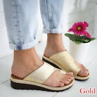 US Women Lady PU LEATHER Comfy Flat shoes Sandal Summer Shoes -Bunion Corrector