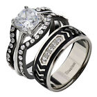 His Hers 4 Pc Black Stainless Steel Titanium Wedding Engagement Ring Band Set LY