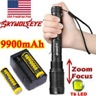 Zoomable 90000Lumens 5-Mode High Power T6 LED Flashlight Torch 18650 Charger US