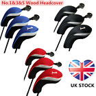 Golf Wood Head Covers Set Driver Fairway Hybrid Interchangeable No.1 3 5 Protect
