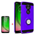 For T-Mobile Revvlry+ Plus Ring Stand Phone Case Armor Cover + Screen Protector