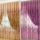 Floral Voile Window Curtain Blackout Tulle Curtain Living Room Drape Panels