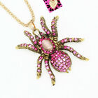 Betsey Johnson Retro Crystal Spider Pendant Sweater Chain Animal Necklace Gift image