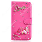 Rhinestone PU Leather Case Bling Wallet Stand Card Slot Cover for Alcatel