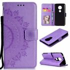 For Motorola Moto G5/G6/G7/E5 Plus Pattern Leather Flip Wallet Stand Case Cover