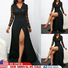 Women Black Lace Long Sleeve Split Ball Gown Formal Evening Party Cocktail Dress $18.03 USD on eBay