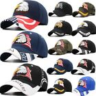 American Flag USA Bald Eagle Patriotic Baseball Cap Adjustable Embroidered STOCK