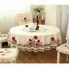 US White Embroidered Tablecloth Floral Lace Round Table Cover Dining Banquet