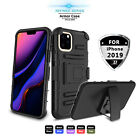 For iPhone 11 Pro Max Shockproof Phone Case With Kickstand Belt Clip Armor Cover