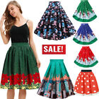 Women's Christmas Santa Swing Party Zipper Pleated Flare A-Line Knee Skirts US