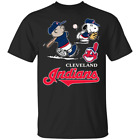 Charlie Brown Snoopy² Cleveland Indians T-Shirt Black-Navy for Men-Women image