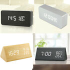 Sound Control LED Alarm Clock Desktop Table Digital Thermometer Wooden Clock US