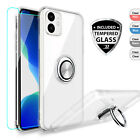 For iPhone 11 Pro Max Case Clear Armor Crystal Slim Cover With Ring Holder Stand