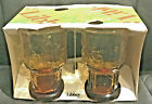 Vintage Amber Juice Glasses by Libbey in Country Garden Daisy Pattern 1970s