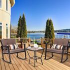 3pcs Garden Outdoor Rattan Wicker Cushioned Rocking Chair Table Furniture Set Us