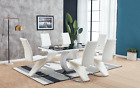 Black White Glass Dining Table Set and 6 Leather Chairs Seats NEW 2020