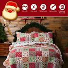 Christmas Quilt Bedspread Set Shams Holiday Twin Full/Queen King Reversible NEW image