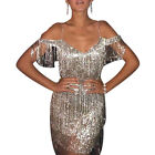 Womesn Glitter Gatsby Flapper Dress Formal Evening Prom Party Cocktail Ball Gown