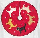 New World Arts Dog and Cat Themed Christmas Tree Skirt