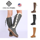 DREAM PAIRS Women's Knee High Faux Fur Lined Winter Lace Up Zip Combat Boots US