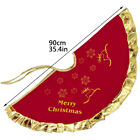 90cm Christmas Tree Skirt Round Gold Red Reindeer Floor Mat Cover Decor Rug US