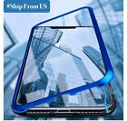 For iPhone 11 Pro Max Magnetic Absorption Double Metal Case Tempered Glass Cover