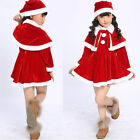 US Toddler Kids Baby Girls Christmas Clothes Costume Party Dresses Shawl Hat Set