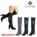 DREAM PAIRS Womens Ladies Thigh High Boots Over The Knee Party Stretch Hihg Heel