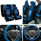 Full Interior Set Blue Seat Covers for Auto w/ Silicone Steering Cover Combo $57.99 USD on eBay