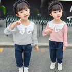 Children Girls Long Sleeve Striped Tops Denim Jeans Pants Toddler Outfits Suits