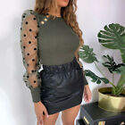 Women Mesh Puff Long Sheer Sleeve Tops Pullover Blouse Shirts Casual Party Club